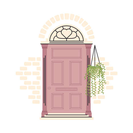 purple front door with plant hanging design, House home entrance decoration building theme Vector illustration