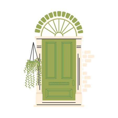 green front door with plant hanging design, House home entrance decoration building theme Vector illustration