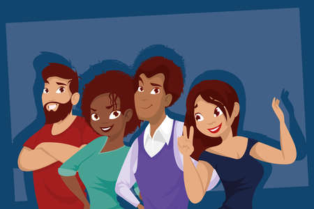 Women and men cartoons design, People person and human theme Vector illustration
