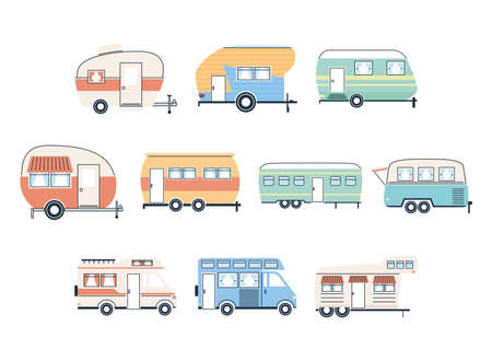 Camper trailers icon group design of caravan trip camp adventure transportation and travel theme Vector illustration