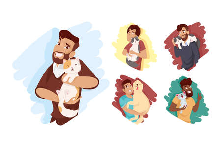 Men with dog and cats mascots icon set design, Pet animal nature and domestic theme Vector illustration