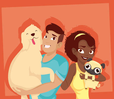 Woman and man with dogs mascots design, Pet animal nature and domestic theme Vector illustration