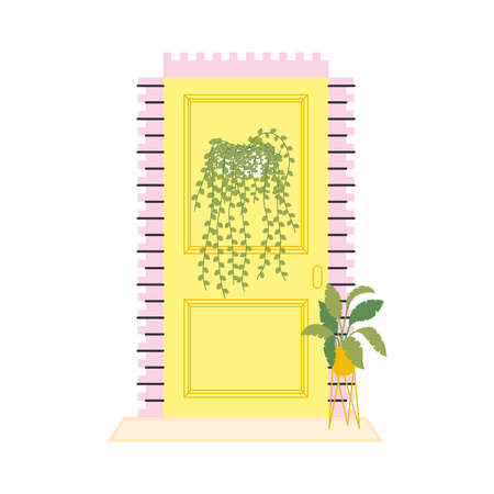 yellow front door with plants design, House home entrance decoration building theme Vector illustration
