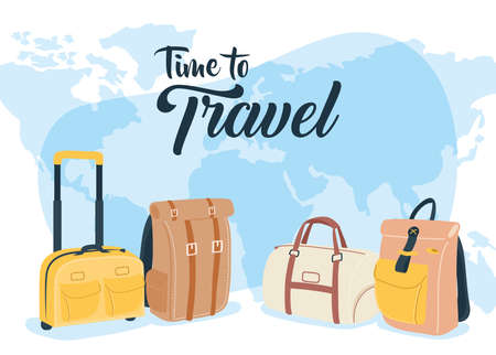Time to travel with bags and world design, Baggage luggage and tourism theme Vector illustration