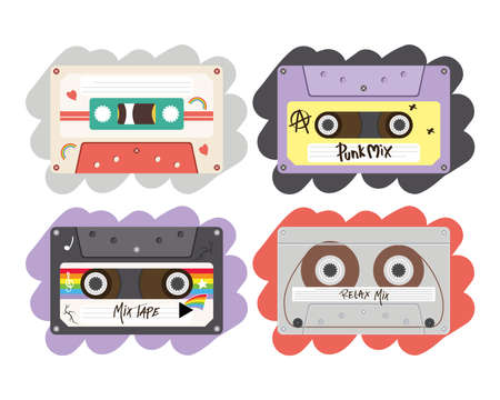 retro cassettes set design, Music vintage tape and audio theme Vector illustration