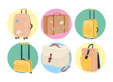 Bags icon set design, Baggage luggage tourism travel theme Vector illustration 일러스트