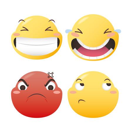 Emoji faces icon set design, Emoticon cartoon expression and social media theme Vector illustration
