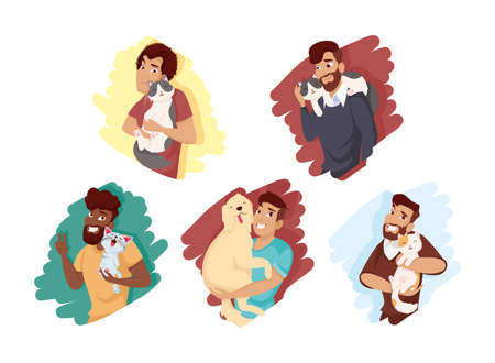 Men with dog and cats mascots set design, Pet animal nature and domestic theme Vector illustration Ilustracja