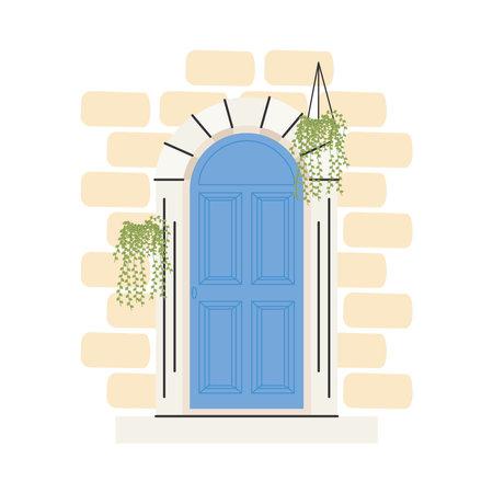blue front door with plants hanging design, House home entrance decoration building theme Vector illustration