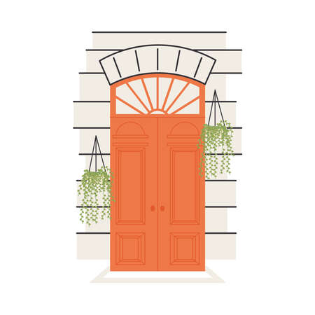 orange front door with plants hanging design, House home entrance decoration building theme Vector illustration 일러스트