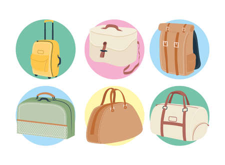 Bags symbol set design, Baggage luggage tourism travel theme Vector illustration