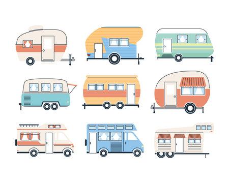 Camper trailers and vans icon set design of caravan trip camp adventure transportation and travel theme Vector illustration 일러스트