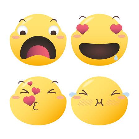 Emoji faces symbol set design, Emoticon cartoon expression and social media theme Vector illustration