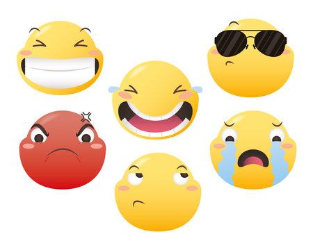 Emoji faces icon collection design, Emoticon cartoon expression and social media theme Vector illustration