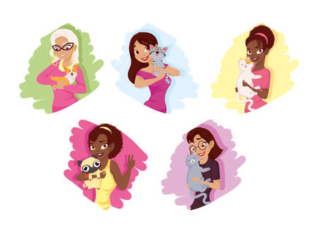 Women with dogs and cats mascots set design, Pet animal nature and domestic theme Vector illustration