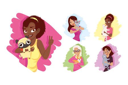 Women with dogs and cats mascots icon set design, Pet animal nature and domestic theme Vector illustration 일러스트
