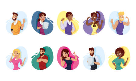 Women and men cartoons set design, People person and human theme Vector illustration