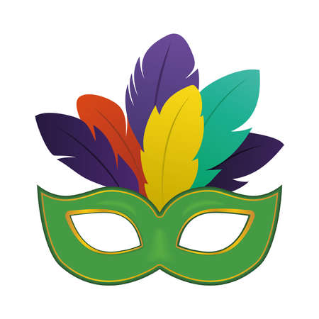 Mardi gras green mask with feathers design, Party carnival decoration celebration and festival theme Vector illustration