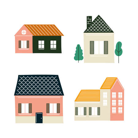 Houses icon set design, Home real estate building theme Vector illustration