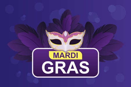 Mardi gras mask with feathers design, Party carnival decoration celebration and festival theme Vector illustration