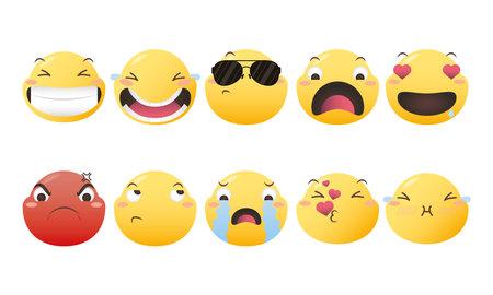 Emoji faces icon bundle design, Emoticon cartoon expression and social media theme Vector illustration