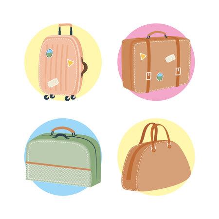 Bags set design, Baggage luggage tourism travel theme Vector illustration