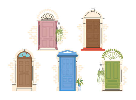 front doors with plants icon collection design, House home entrance decoration building theme Vector illustration 일러스트