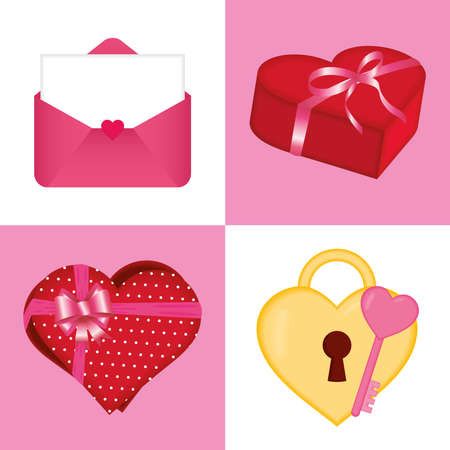Happy valentines day icon collection of love passion and romantic theme Vector illustration 일러스트