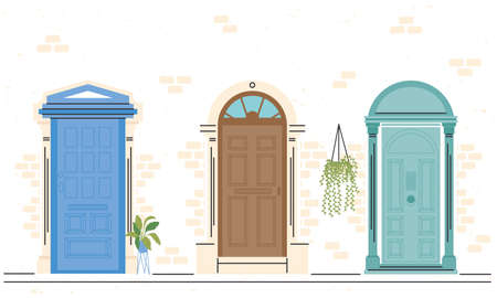 front doors with plants icon bundle design, House home entrance decoration building theme Vector illustration