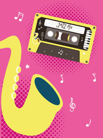 jazz mix retro cassette with saxophone design, Music vintage tape and audio theme Vector illustration Ilustrace