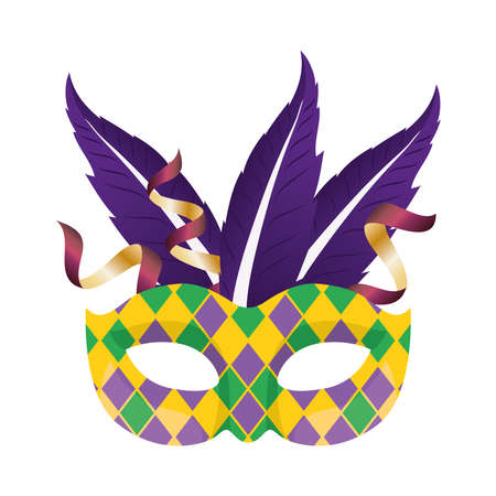 Mardi gras mask with purple feathers design, Party carnival decoration celebration and festival theme Vector illustration