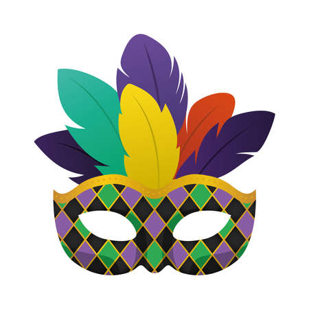 Mardi gras black mask with feathers design, Party carnival decoration celebration and festival theme Vector illustration