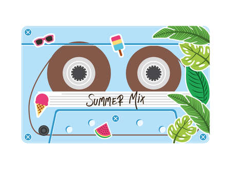 summer mix retro cassette design, Music vintage tape and audio theme Vector illustration