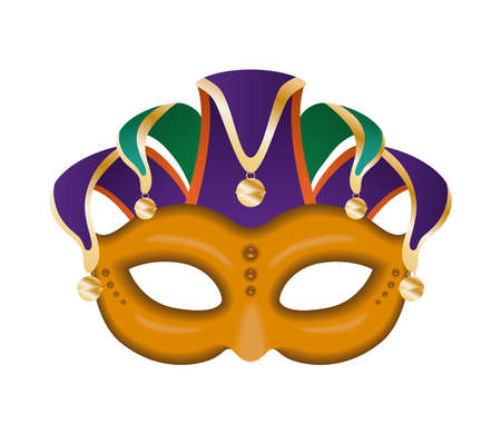 Mardi gras harlequin hat with orange mask design, Party carnival decoration celebration and festival theme Vector illustration