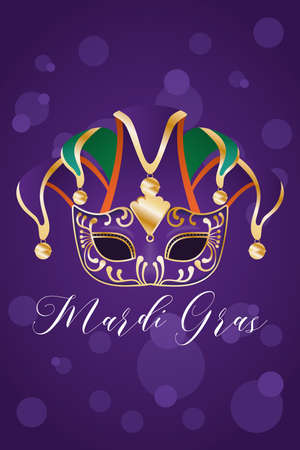Mardi gras harlequin hat with mask design, Party carnival decoration celebration and festival theme Vector illustration