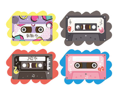 retro cassettes icon collection design, Music vintage tape and audio theme Vector illustration 일러스트