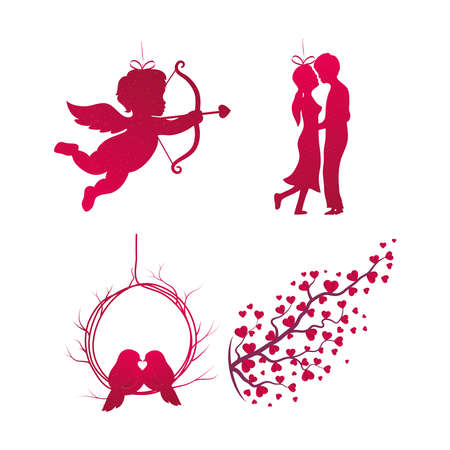 Love icon collection design of Passion and romantic theme Vector illustration 일러스트