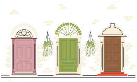 front doors with plants icon group design, House home entrance decoration building theme Vector illustration 일러스트