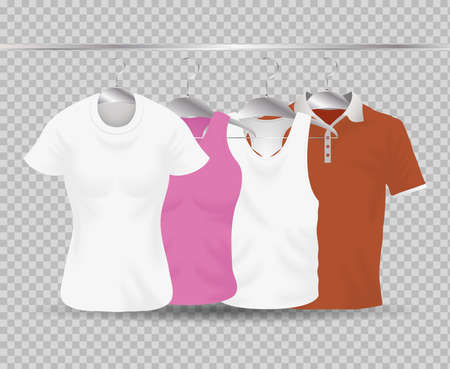 Mockup clothing hanging icon set design of cloth corporate identity wear and shopping theme Vector illustration