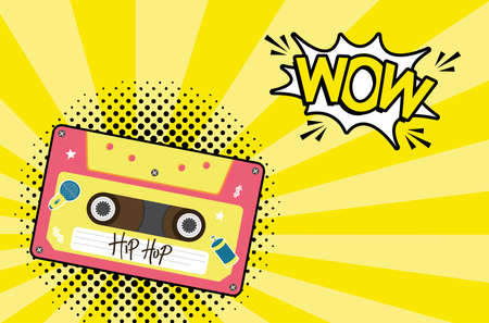 hip hop retro cassette with wow explosion bubble design, Music vintage tape and audio theme Vector illustration