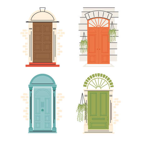 front doors with plants symbol set design, House home entrance decoration building theme Vector illustration