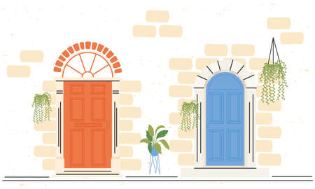 two orange and blue front doors with plants design, House home entrance decoration building theme Vector illustration