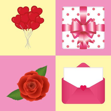Happy valentines day icon set of love passion and romantic theme Vector illustration 일러스트