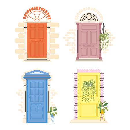 front doors with plants set design, House home entrance decoration building theme Vector illustration