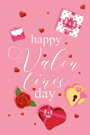 Happy valentines day card with icons of love passion and romantic theme Vector illustration