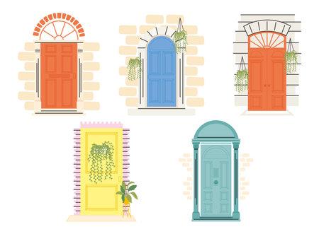 front doors with plants icon set design, House home entrance decoration building theme Vector illustration