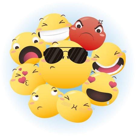 Emoji faces icon group design, Emoticon cartoon expression and social media theme Vector illustration 일러스트