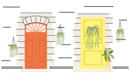 two front doors with plants design, House home entrance decoration building theme Vector illustration
