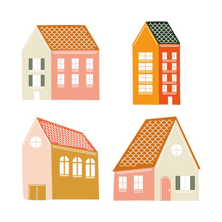 Houses icon collection design, Home real estate building theme Vector illustration 일러스트
