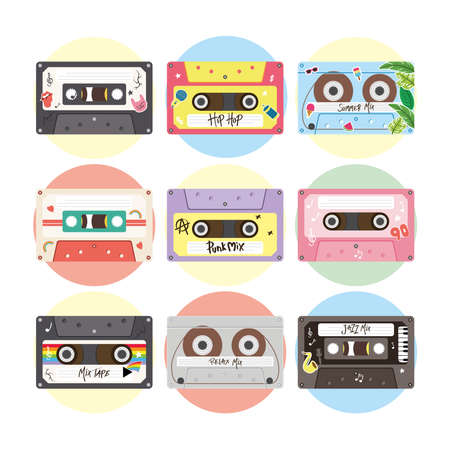 retro cassettes icon set design, Music vintage tape and audio theme Vector illustration Ilustrace